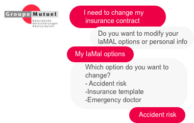 Groupe Mutuel has integrated a chatbot to guide customers more quickly when adjusting insurance contracts.